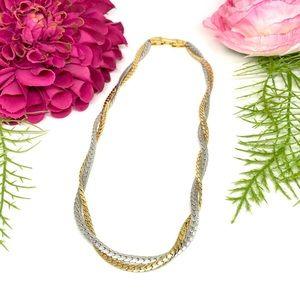 VINTAGE⚜️AVON Silver & Golden Twist Chain Necklace